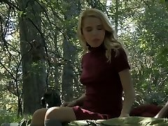 Inviting blondie Alina West is punished in the deep forest