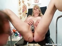 Blond grandma kinky snatch exam with enema