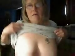 Naughty grandmother having fun on web cam