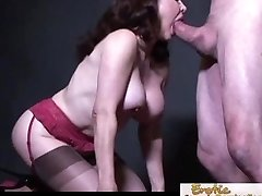 Buxom cougar in stockings chooses it doggy style