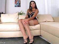 Great solo masturbation in sexy undergarments