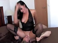 Lolly dominating guy by sitting on his face in stocking