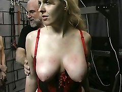 Thick big ass bdsm lesbian is tormented by her sir and mistress in basement