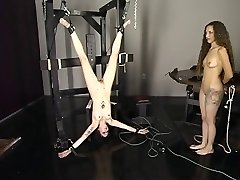 Blonde sees while brunnette is tantalized upside down.