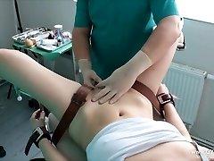 Damsel's orgasm on the gynecological chair