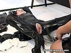 Trampy brunette MILF in rubber massage