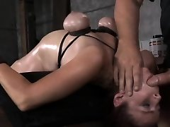 Breast bondage slave bent backwards