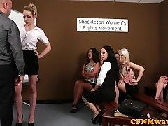 CFNM femdoms abjecting prick in group