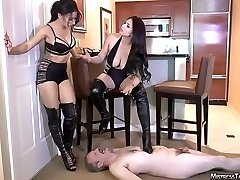 Tangent and friend femdom spit boot humiliation of male bi-atch
