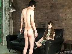 CFNM Chinese femdom Ruri like to watch a young nude man ma