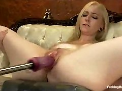 Corded up blonde machine fucked