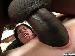 Rebeca Linares wails on Monster Cock