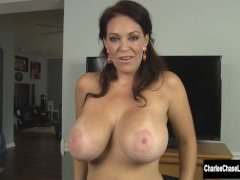 Busty Charlee Chase Inhales Stiffy in Puffy Winter Coat