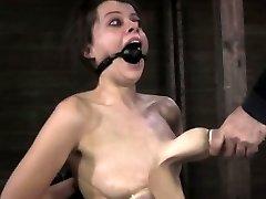 Nipple sucked slut getting caned