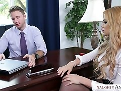 Blonde assistant screwed brutally in the office by killer boss