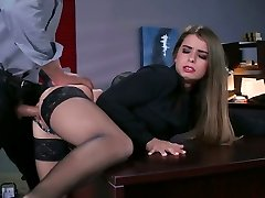 Ultra-kinky boss fucks bootyful and juggy secretary on the table