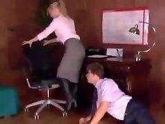 Office boss in shoe worshipped