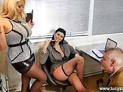 Fabulous manager bitches turn office perv into nylon stockings worship foot marionette