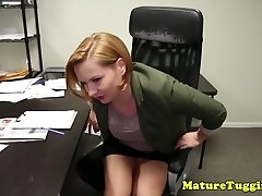 Office stepmom tugging weirdo stepsons cock