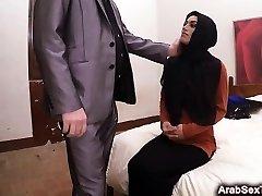 Dumb Arab nymph screams while slapped in brutal grudge fuck