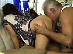 Dirty Older Uncle Fucks & Licks Hairy Indian Chick's Ass