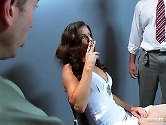 Busty slutty brown-haired India Summer is gangbanged by two cops