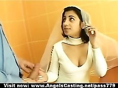 Sexy black-haired indian bride talking with a stud