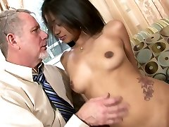 Delectable Indian hottie Ruby Rayes plays with big cock of old man