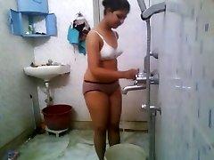 Indian College Babe In Hostel Bathroom