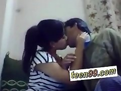 Indian school studend kissing deeply to express enjoy