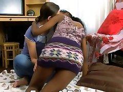 Indian and a slender brunette teenager lesbians