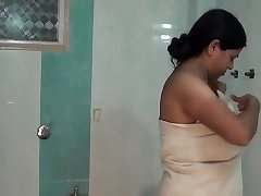 Aunty dress switch in bedroom and bathroom