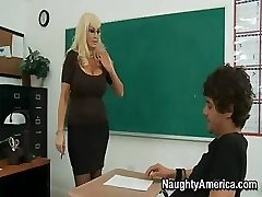 This huge-titted blond Cougar of a teacher needs some indeed rough sex