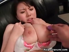 Adorable asian babe with huge juggs gets partTwo