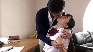 Japanese college cutie lures her tutor and sucks his tastey shaft in 69 pose