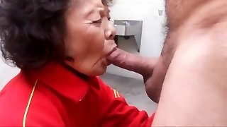 Granny luvs sucking hard-on and swallowing cum