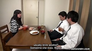 Too tired husband falls asleep while his colleague screws his wifey Risa Kurokawa
