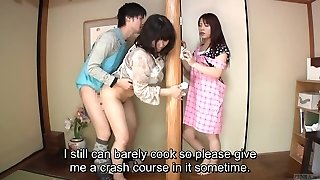 Subtitled Asian risky hookup with voluptuous mother in law