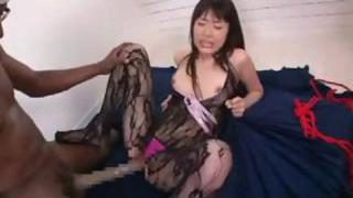 Asian girl gets a gigantic black cock to eat and she gets ravaged