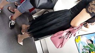 metro pantyhose candid