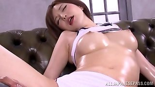 Yuria Satomi mischievous milf in wet clothes gets dildo insertion