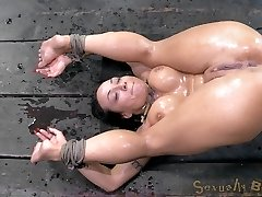 Weve got Mahina Zaltana strapped down into the perfect pile driver position. Her pussy is folded...