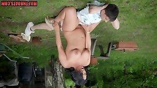British mom outdoor with cumshot