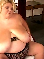 Fat blonde with HUGE tits