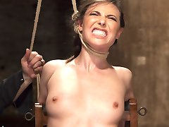 Casey is put through her paces by the relentless Sgt. Major. Casey endures tight ropes, humiliating positions, strappado, ball gags anal hooks, pussy penetration, clit vibe and overwhelming orgasms.