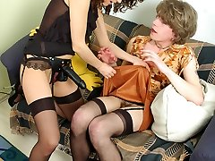 A meeting with wire-on armed gal ends with huge bonus up sissy guy�s ass