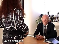 Office secretary bares her busty backside for the lash - deep stripes on quivering buttocks