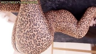 Flexible asian cosplay babe in leopard bondage suit creampied