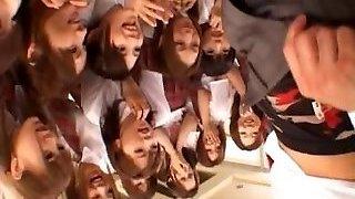 Beautiful Japanese schoolgirls inspecting