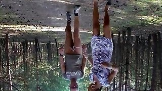 E-Stim outdoor ,Public displaying in fuckpole, jerking off